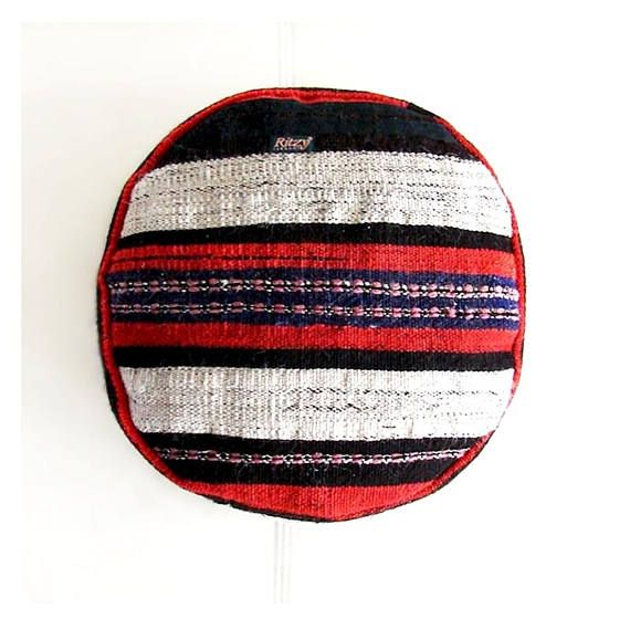 Meditation Round Cushion, Kelim pillow, Mini  pouf, Bohemian living, Decorative Throw Pillows, Home Decor,  (34x34 cm)