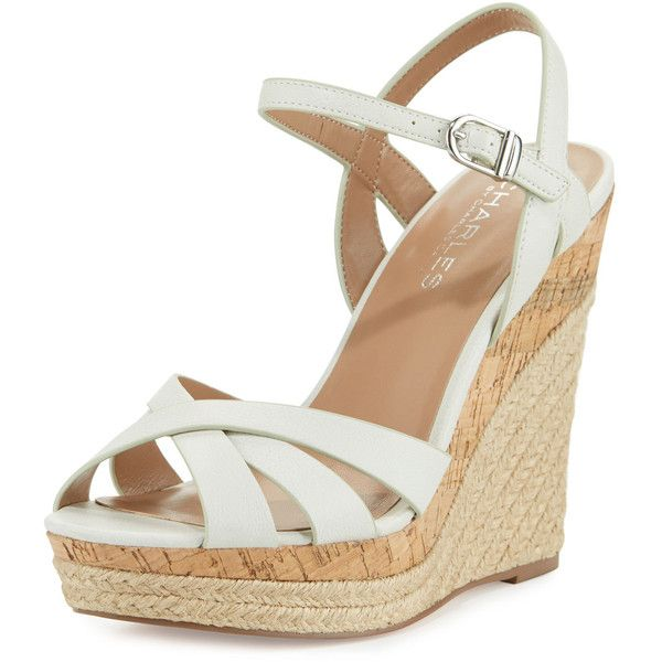 Charles By Charles David Astro Leather Wedge Sandal ($62) ❤ liked on Polyvore featuring shoes, sandals, white, braided leather sandals, white ankle strap sandals, ankle strap sandals, wedge sandals and wedges shoes