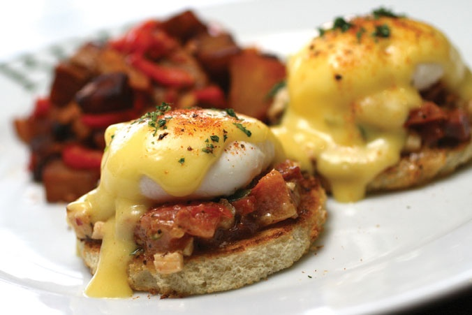 Try our Eggs Benedictano for Easter Brunch! It's made with two poached eggs and Canadian bacon, served on toasted brioche with Hollandaise sauce, grilled asparagus and potatoes peperonata.