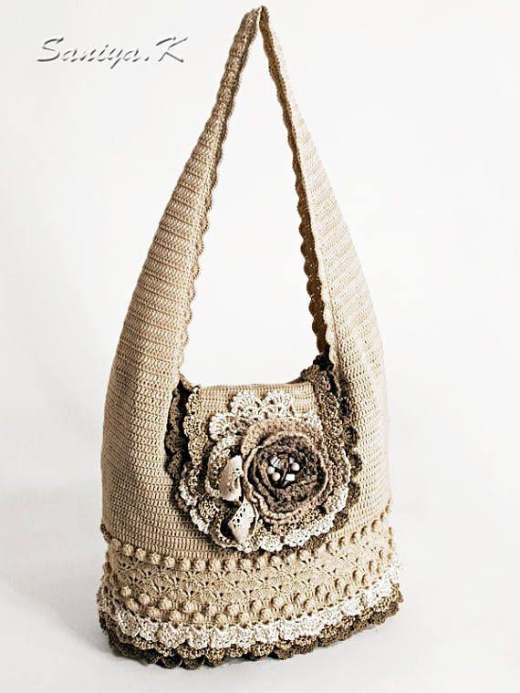"Eco Bag ""Morning coffee"" (crocheted eco-friendly handmade bags buy)"