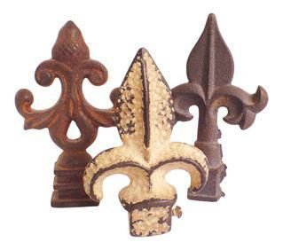 Antique Cast Iron Fleur De Lys Finials- Set of 3 on Chairish.com