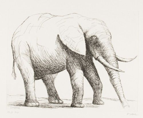 Elephant, an original Henry Moore Etching.