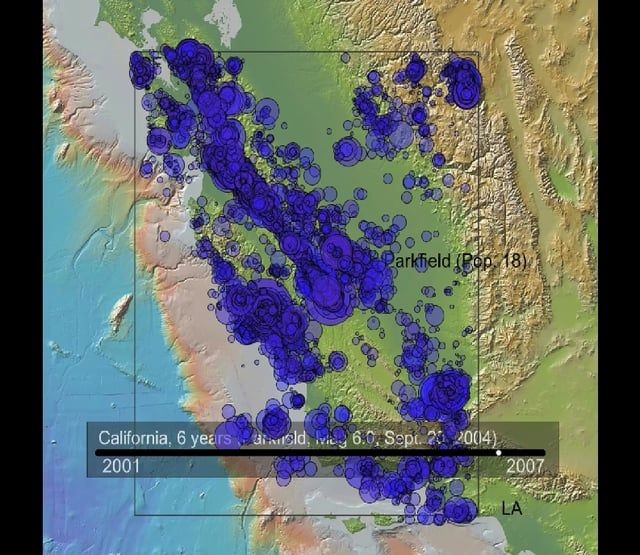 This movie shows 7 years of seismicity in the Western US (focused on the San Andreas Fault between LA and San Francisco), Mag. 2.5 and greater.  The biggest events are the Magnitude 6.6 San Simeon earthquake, 2003, followed by the Magnitude 6.0 Parkfield earthquake, 2004. This is the sound of two plates grinding past each other.