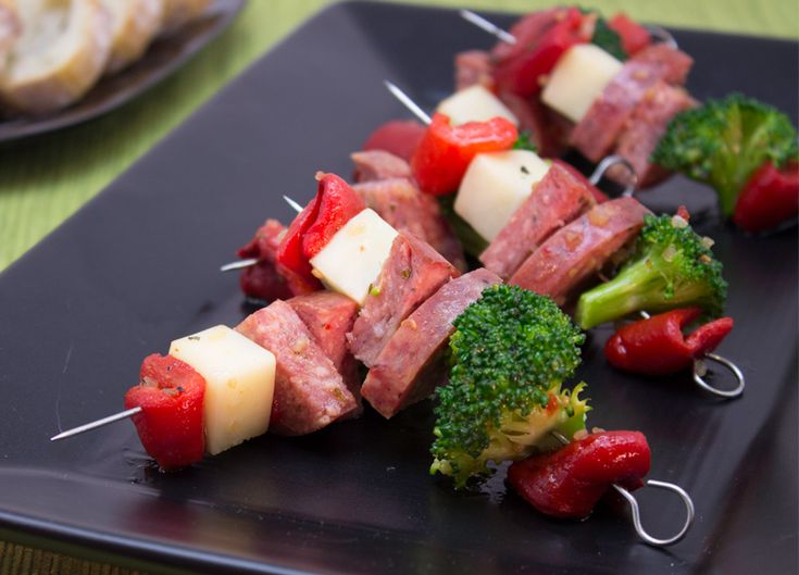 Italian-Style Summer Sausage Kabob - Looking for a yummy, healthy-minded treat to keep you satisfied? Try this sausage kabob idea from Johnsonville. Skip the grill and use Johnsonville Summer Sausage for fantastic savory goodness. Add in crunchy broccoli, sweet red peppers and mozzarella cheese, and you've got a great dish that's as fun to build as it is to eat!