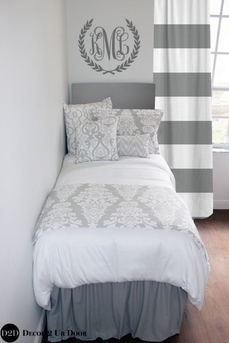 Get Your Gorgeous Grey Dorm Room Bedding Set For Girls Grey Restoration  Hardware Inspired Designer Dorm Part 42