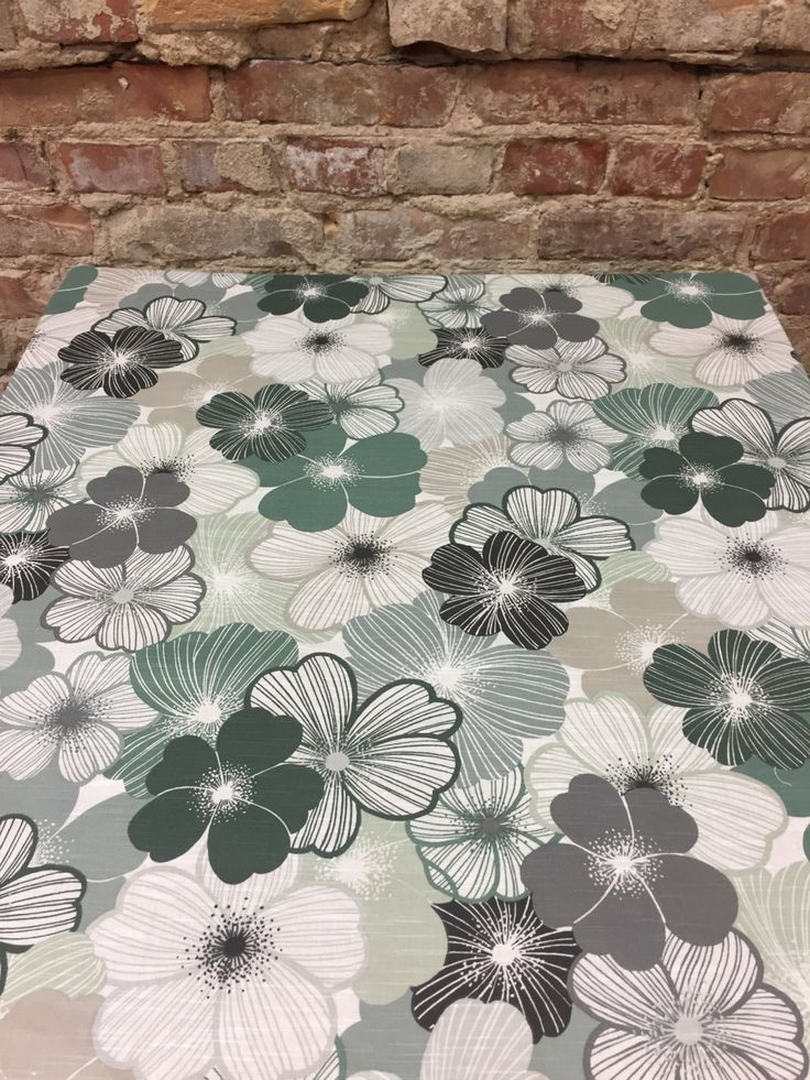 Tableclot white with gray white green striped flower, modern tablecloth, by SiKriDream on Etsy