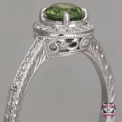 Art Deco Demantoid Green Garnet Ring