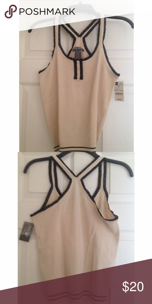 *NEW* black and cream cami New with tags. Black and cream cami. Button up and lace detail. Racerback. Size medium. Unworn Tops Camisoles