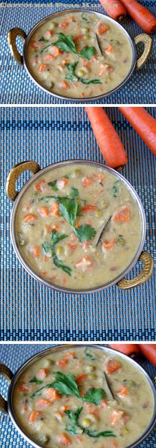 A delicious and healthy side for savory Indian dishes like Idiyappam, Appam and Set Dosa. This Carrot and Peas Kurma is made with freshly ground masala and is super flavorful.