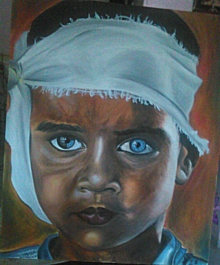 INDIA (dalla fotografia di Steve McCurry) oil on canvas 50x60  #india #stevemccurry #photographer #baby #eyes #color #oil #on #canvas #art