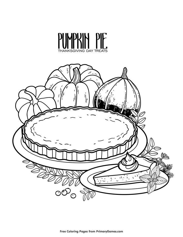 Thanksgiving Coloring Page Pumpkin Pie