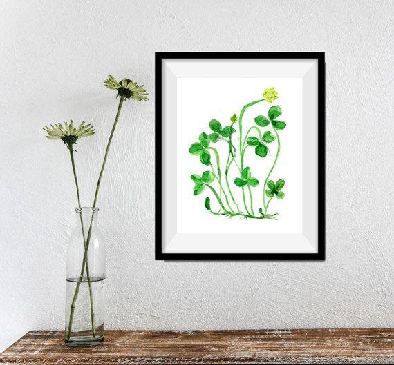 Clover plant art print, St Patric's day, lucky clover art, Kelly  green, watercolor print, Botanical print, Shamrock, luck of the Irish,