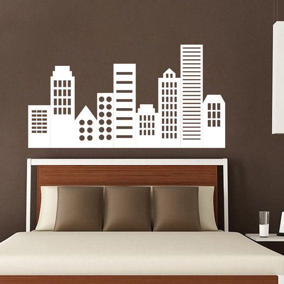 Stad landschap Vinyl Stickers Kids slaapkamer kunst door DecalHouse
