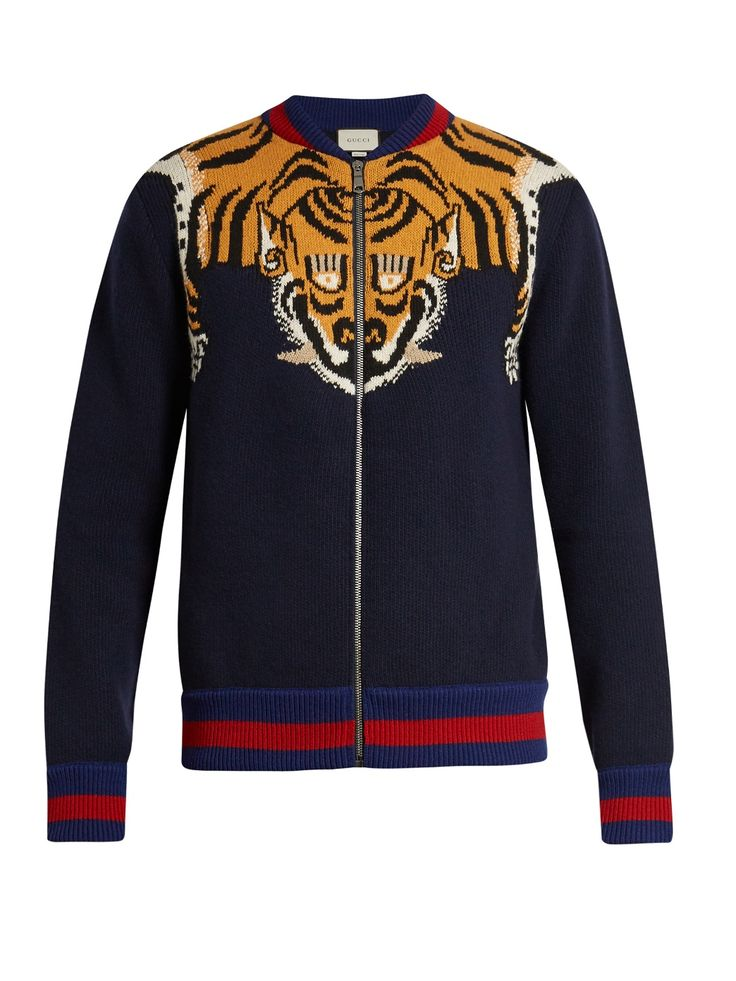Tiger-knit zip-through wool bomber jacket   Gucci   from MatchesFashion (men, style, fashion, clothing, shopping, recommendations, stylish, menswear, male, streetstyle, inspo, outfit, fall, winter, spring, summer)