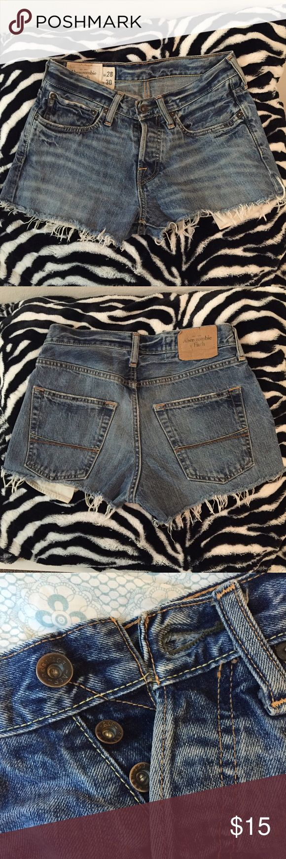 """Homemade cutoff shorts from A&F men's jeans Cute and/or grungy! Inseam: 2.5"""" on right side, 1.5"""" on left side Abercrombie & Fitch Shorts Jean Shorts"""