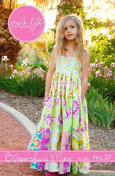 fairytale frocks and lollipops :: pink fig designs, Chelsea Andersen, bloomshine maxi girls, toddler, girls, girls dress pattern, girls sewing pattern, children's sewing pattern, long dress, maxi dress, halter, patchwork, tiered, summer, spring, fall, an