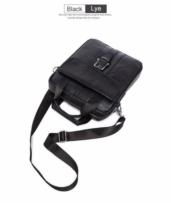 Uomini Genuine Leather Crossbody Bag Vintage cartella di affari a doppio uso borsa
