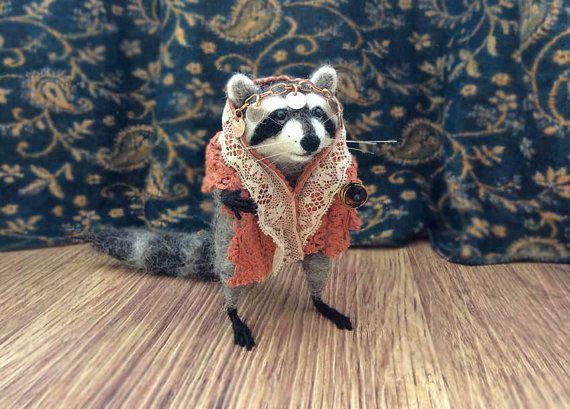 Mini Needle Felted Raccoon Small Raccoon by GentlySpokenFriend