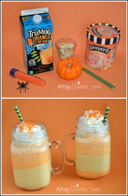 #TruMooTreats Orange Scream Shake Recipe inspired by candy corn #ad