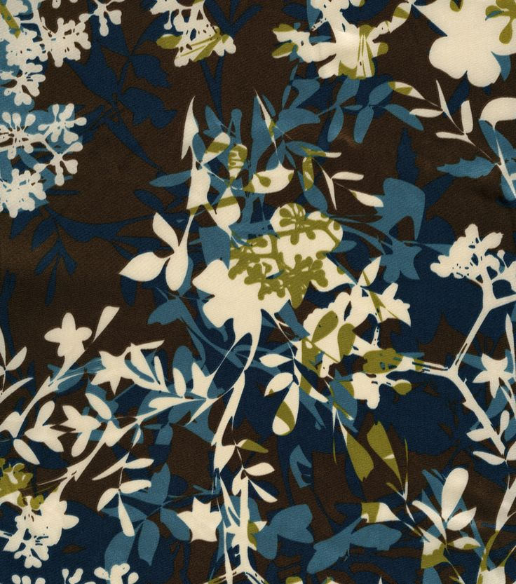 Simply Silky Prints Charmeuse Fabric Shifting Silhouette Brown & Blue