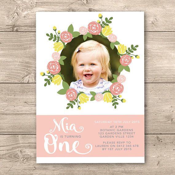 Personalised Girls 1st Birthday Printable by InkandCardDesigns