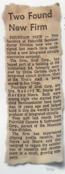 Robert Noyce and Gordon Moore leave Fairchild Semiconductor and incorporate a new venture as NM Electronics (1968). Later in the year, they purchased the rights to use the Intel name.