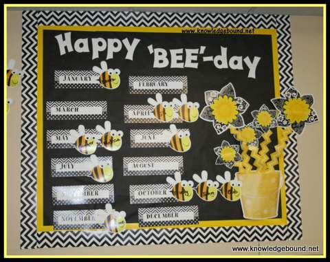 Happy BeeDay Birthday Board From Knowledge Bound She Used CTPs Black Chevron Border Yellow Lots Of Dots Buckets Bees And BW Flowers