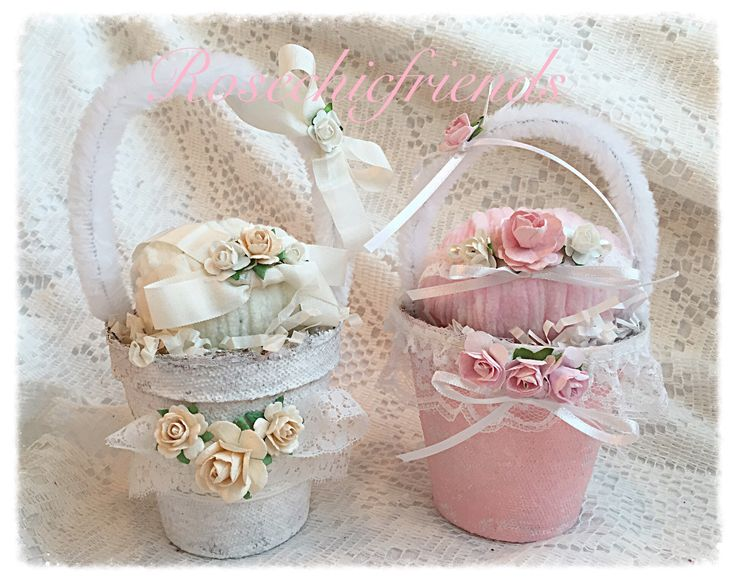 Sweet peat pot baskets...Easter and spring shabby and chic