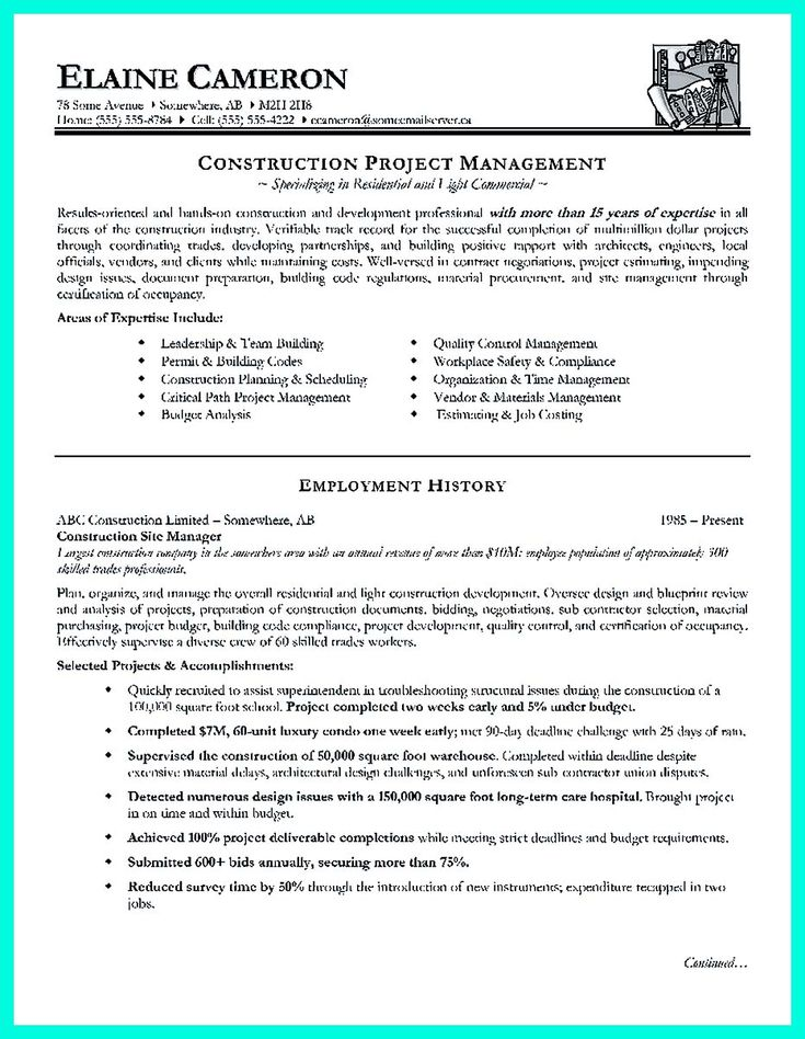 10 best Best Project Manager Resume Templates  Samples images on - how to write a construction resume