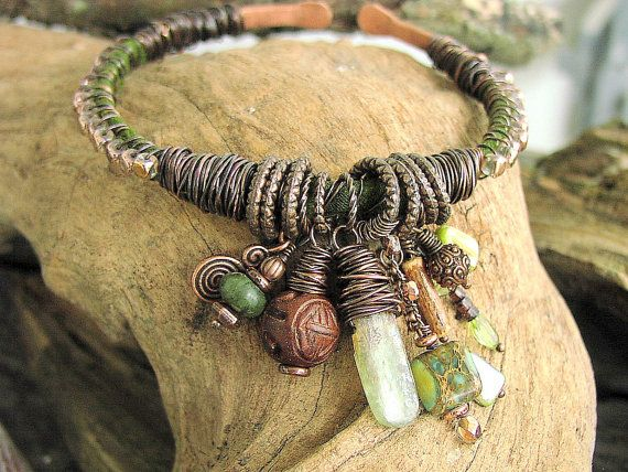 Ladies Bangle 7 Deadly Sins (ENVY) Green Kyanite, Peridote, Aqua Terra Copper Charm Bracelet