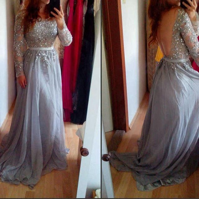 2016 New Sexy Prom Dresses Jewel Illusion Neck Long Sleeves Lace Appliques Beads Backless Silver Chiffon Formal Party Pageant Evening Gowns Online with $129.85/Piece on Haiyan4419's Store | DHgate.com