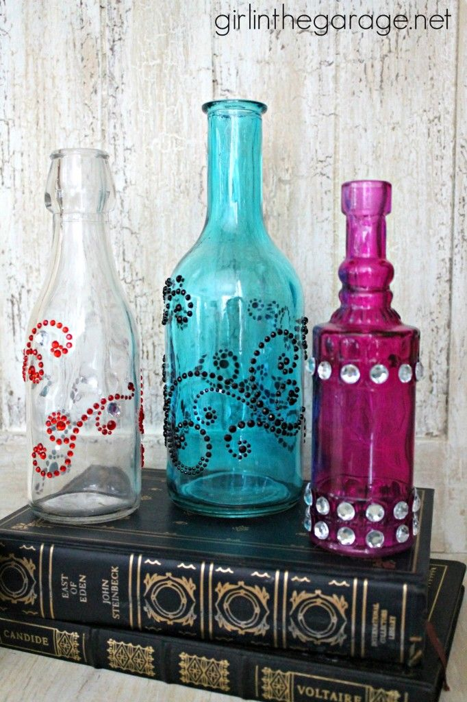Botellas Bejeweled {Pinterest Craft Inspirado de Michaels} girlinthegarage.net