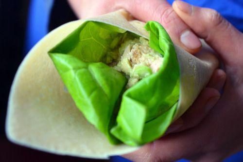 tuna and avocado in a lettuce wrap