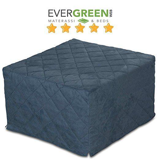 Pouf-lit pliant, lit d'appoint avec matelas en mousse polyuréthane - Couchage 70x200 cm