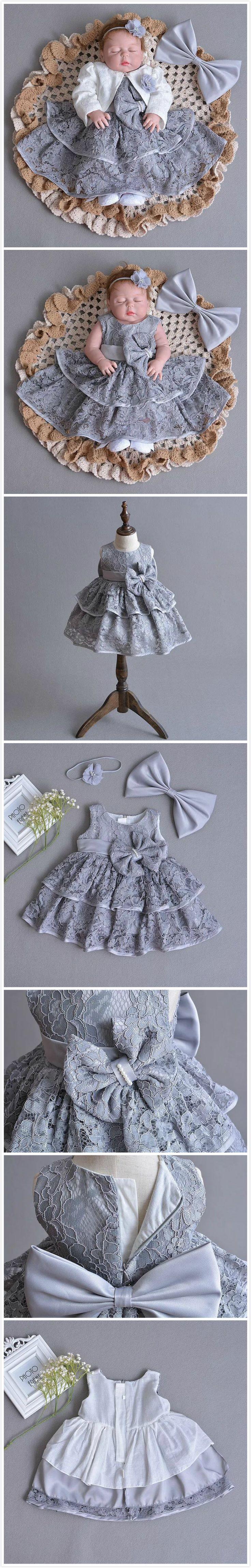 Baby & Toddler's Girl Grey Lace Dress Princess Dress Set For Wedding