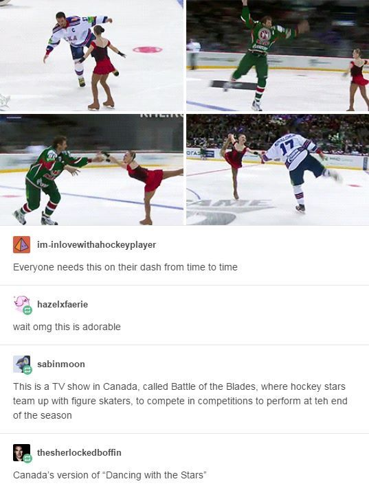 "I just want to see the ""girl hockey player"" with the ""guy figure skater"", except the girl does all the lifts and the guy does all the fancy spins ;)"