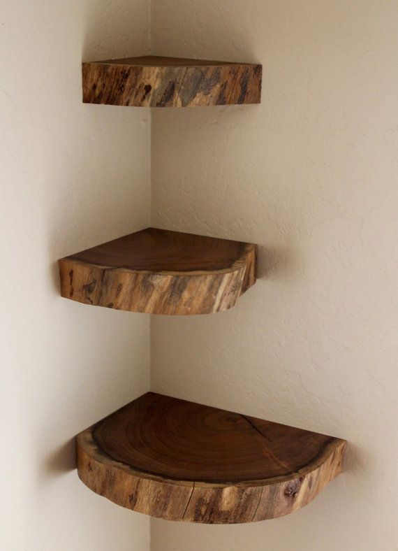 Floating Shelves, Live Edge, Free Shipping (US), Wall Shelves, Mesquite, Set of 3, Corner Shelves, Floating Brackets Included