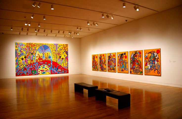 "Installation of Morrisseau's ""Androgyny"" (1983), and ""Man Changing into Thunderbird"" (1977), in the exhibition ""Norval Morrisseau: Shaman Artist"" at the National Gallery of Canada, 2006. #ArtCanInstitute"