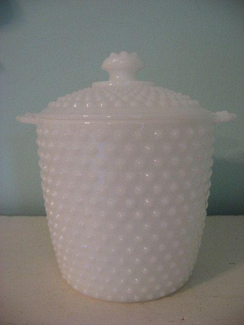 vintage milk glass cookie jar
