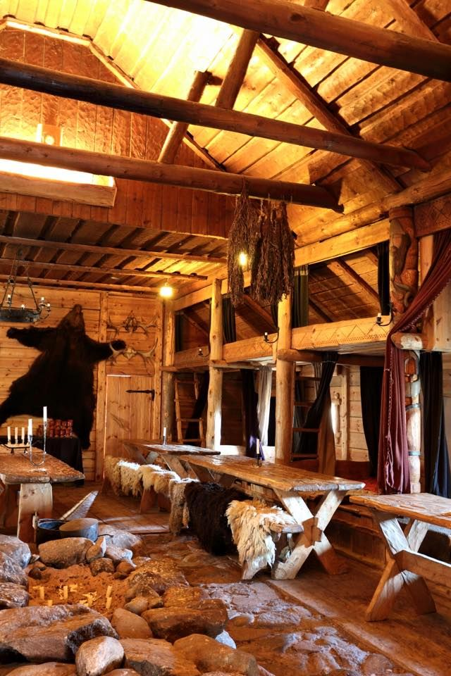 Inside the Chieftain's Hall at the Rosala Viking Center, Finland.