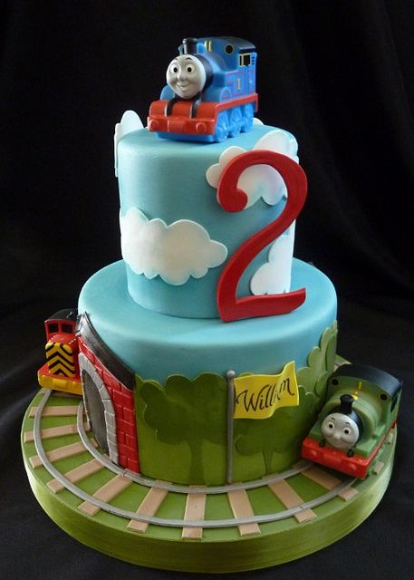 Thomas the Train cake for my nephew's 3rd birthday...i could definitly make a verison of this (with funfetti cake and buttercream)