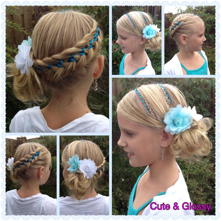 Hairstyle with ribbons for special occasions. The pattern of the ribbonbraid is devised by myself, also the composition.
