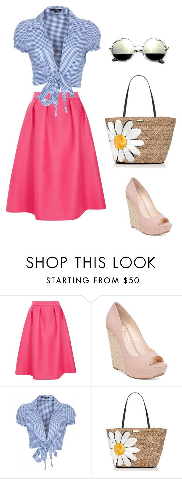 pink and blue by catarina-teixeira-de-queiros on Polyvore featuring QED London, Dorothy Perkins, Jessica Simpson and Kate Spade