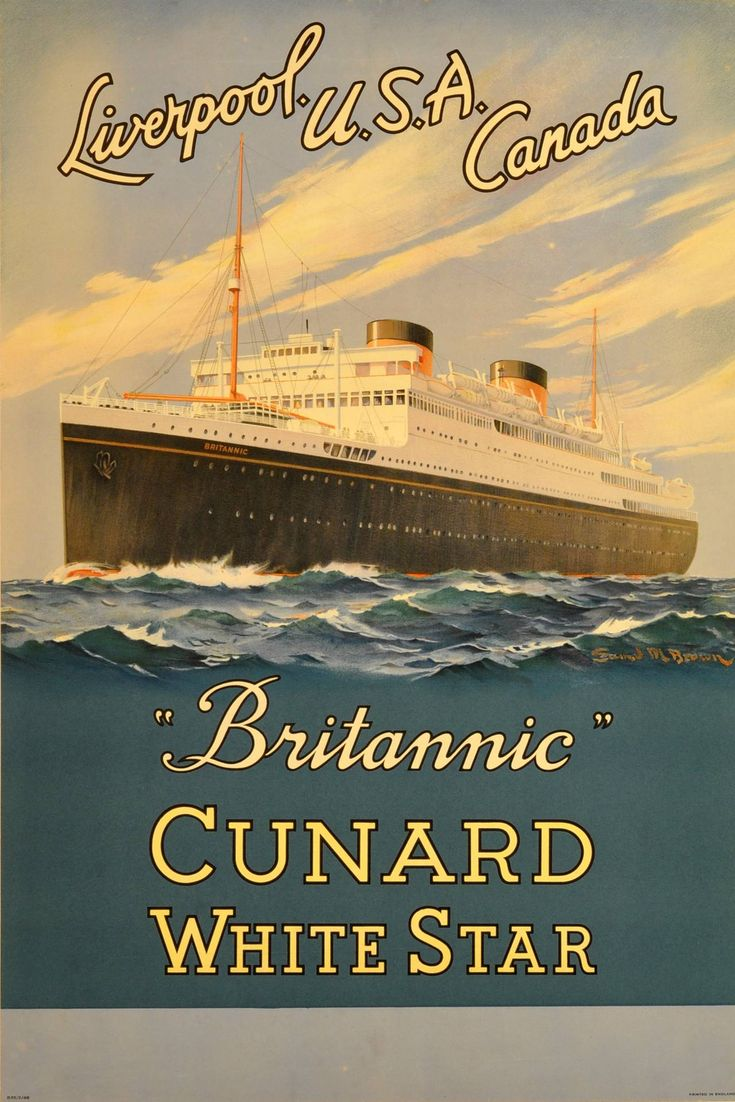 Original vintage cruise ship poster - Britannic - Cunard White Star ocean liner | From a unique collection of more prints at https://www.1stdibs.com/art/prints-works-on-paper/more-prints-works-on-paper/
