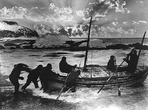 Launching the James Caird for a risky journey 800 miles across the southern ocean from Elephant Island to South Georgia