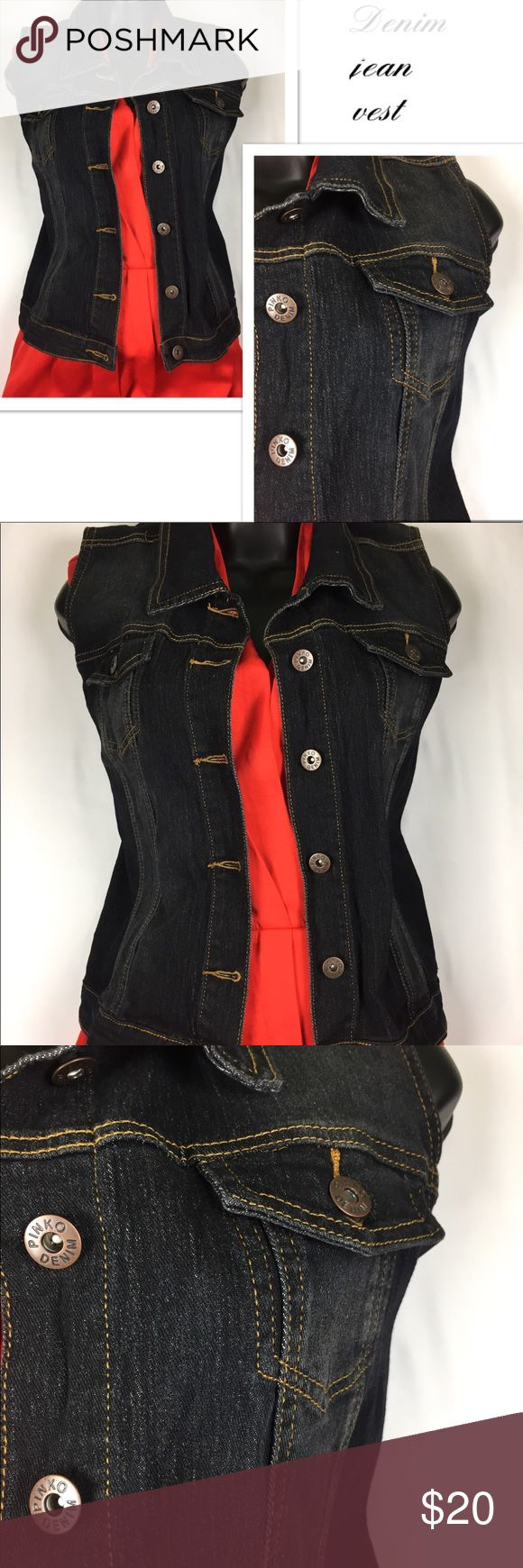 Jean vest pinko denim ✨LIKE NEW✨ Gently worn ✨LIKE NEW✨ denim jean jacket vest in perfect condition. No rips, stains, or tears. Smoke free home and fast shipping pinko denim Jackets & Coats Vests