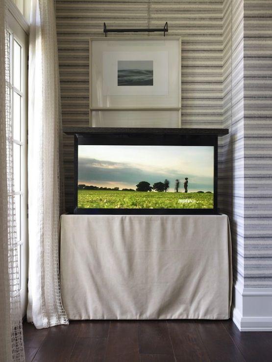 Amazing Flatscreen TV Hidden In Skirted Console Table.   Flat Screen Tv  Wall Mount   Pinterest   Flatscreen, Hidden Tv Cabinet And Gray Striped  Walls