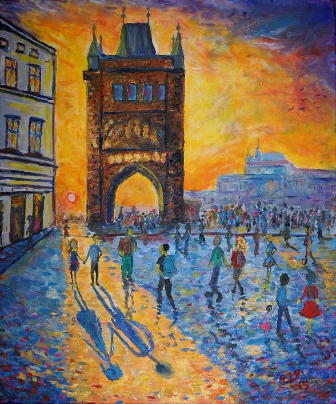 Prague - Charles Bridge, impressionist sunset painting - borka-art.blogspot.com