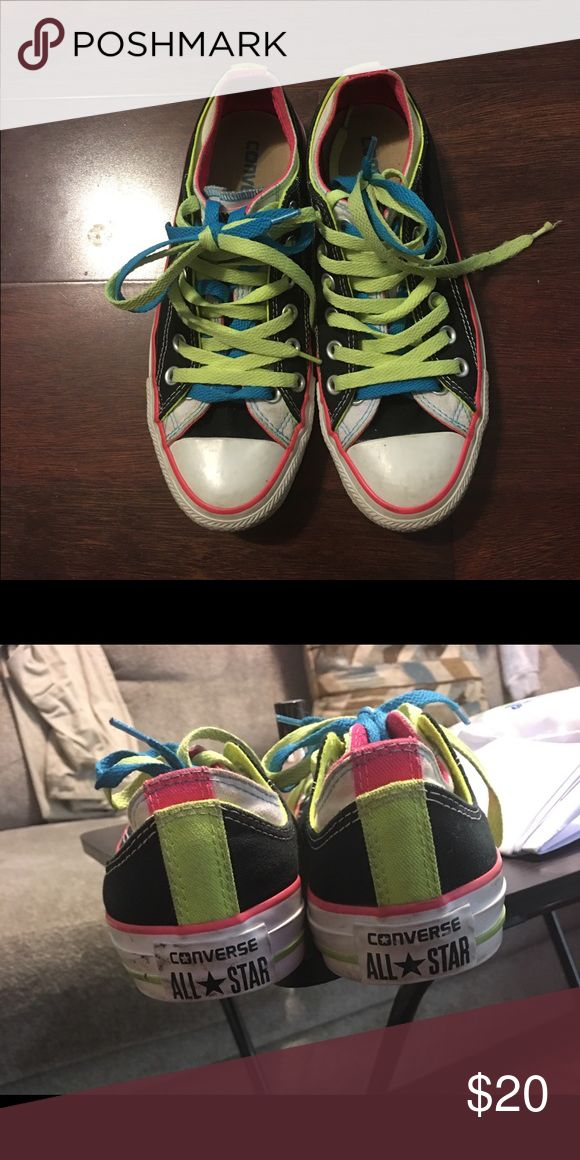 Fluorescent/neon Converse Black shoes with neon yellow/blue shoelaces. Has 2 tongues. Converse Shoes Sneakers