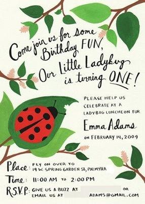ladybug invite Rifle Paper invitation